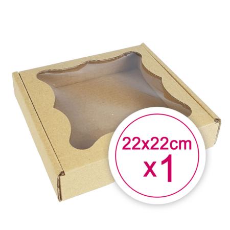Pudełko na ciasteczka, pierniki, z okienkiem szare kwadratowe 22 x 22 x 2,4 cm - 1 szt.