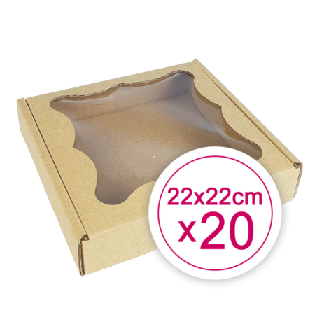Pudełko na ciasteczka, pierniki, z okienkiem szare kwadratowe 22 x 22 x 2,4 cm - 20 szt.