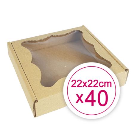 Pudełko na ciasteczka, pierniki, z okienkiem szare kwadratowe 22 x 22 x 2,4 cm - 40 szt.