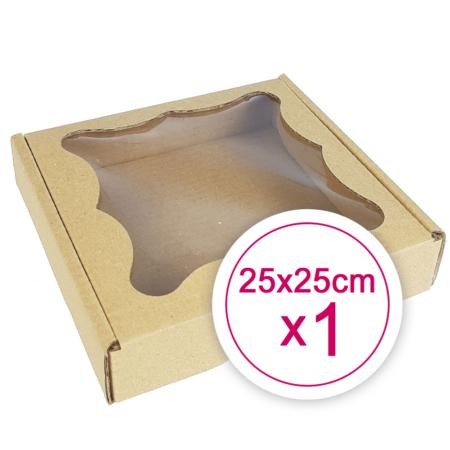 Pudełko na ciasteczka, pierniki, z okienkiem szare kwadratowe 25 x 25 x 2,4 cm - 1 szt.