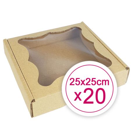 Pudełko na ciasteczka, pierniki, z okienkiem szare kwadratowe 25 x 25 x 2,4 cm - 20 szt.