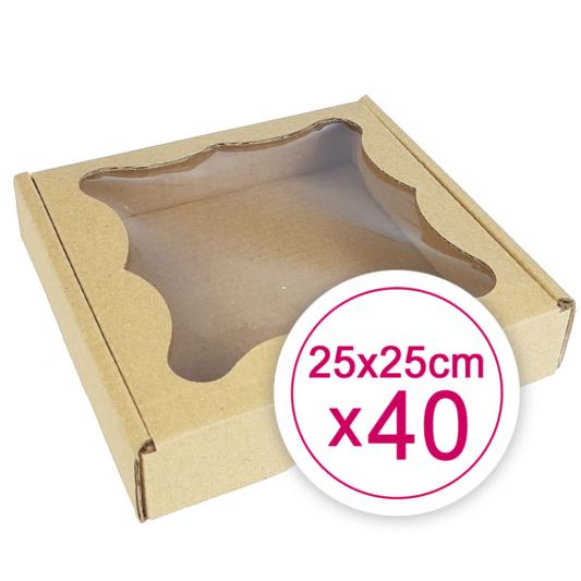 Pudełko na ciasteczka, pierniki, z okienkiem szare kwadratowe 25 x 25 x 2,4 cm - 40 szt.
