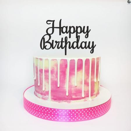 Topper HAPPY BIRTHDAY Prosty - 15 x 9,3 cm - Czarny - Miniowe Formy