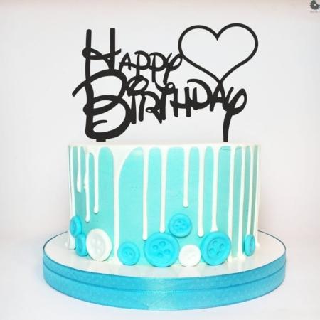 Topper HAPPY BIRTHDAY z Sercem - 15 x 9,2 cm - Czarny - Miniowe Formy