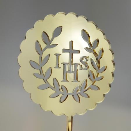 Topper Komunijny IHS 10 cm - Złoty Lustro - Miniowe Formy