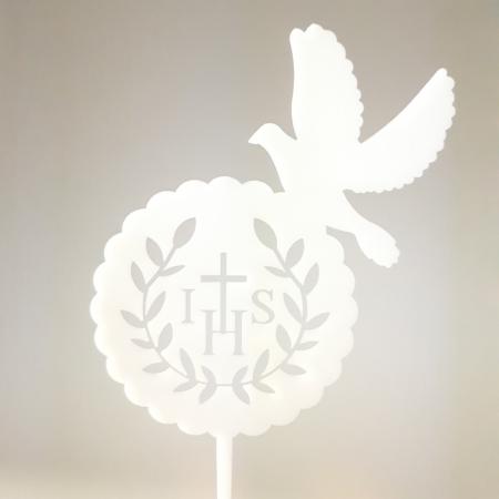 Topper Komunijny IHS i Gołąb 15 x 13 cm - biały - Miniowe Formy