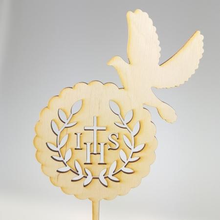 Topper Komunijny IHS i Gołąb 15 x 13 cm - Drewno - Miniowe Formy