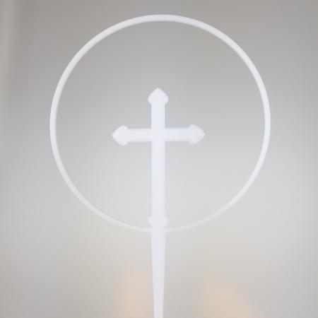 Topper Obręcz z Krzyżem 10 cm - Biały - Miniowe Formy
