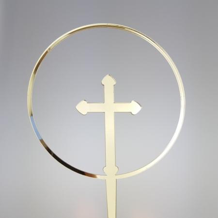 Topper Obręcz z Krzyżem 10 cm - Złoty Lustro - Miniowe Formy