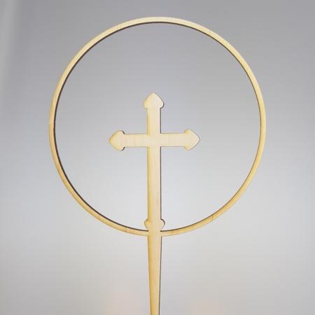 Topper Obręcz z Krzyżem 15 cm - Drewno - Miniowe Formy