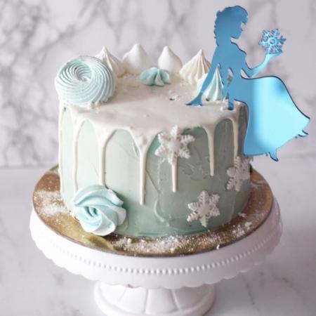 Topper Panienka ze Śnieżynką - 15 x 11 cm - Niebieskie Lustro - Miniowe Formy