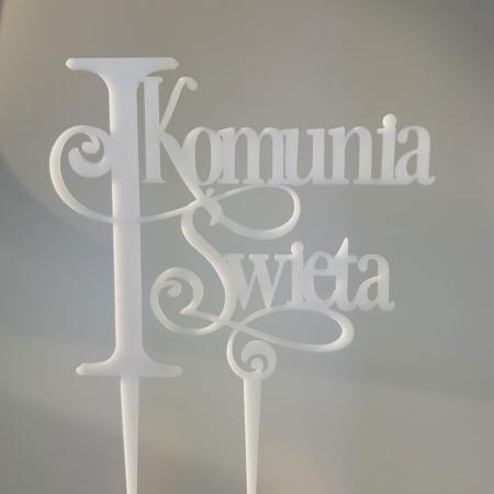 Topper Pierwsza Komunia Święta EXCLUSIVE 13 x 11 cm - Biały - Miniowe Formy