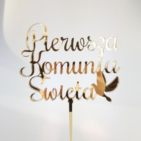 Topper Pierwsza Komunia Święta Prosta i Gołąb 12 x 9,5 cm - Złoty Lustro