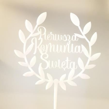 Topper Pierwsza Komunia Święta w Wianku II - 13 x 11,8 cm - Biały - Miniowe Formy