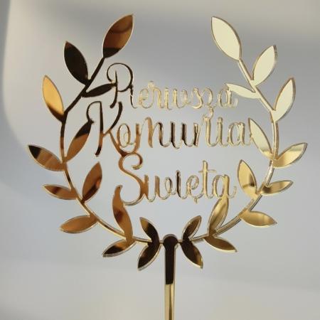 Topper Pierwsza Komunia Święta w Wianku II - 13 x 11,8 cm - Złoty Lustro - Miniowe Formy