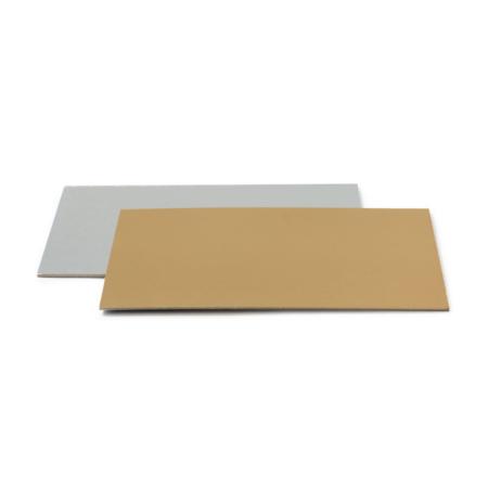 Podkład pod tort prostokątny sztywny, cienki, wytrzymały - Srebrno - Złoty 35 x 45 cm, grubość 0,15 cm - Decora