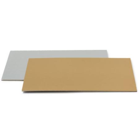Podkład pod tort prostokątny sztywny, cienki, wytrzymały - Srebrno - Złoty 40 x 60 cm, grubość 0,15 cm - Decora