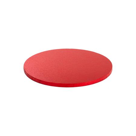 Podkład pod tort okrągły sztywny, gruby, wytrzymały - Czerwony - średnica: 25 cm, grubość: 1,2 cm - Decora