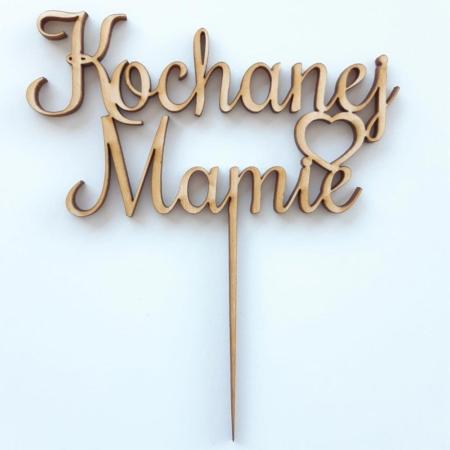 Topper Kochanej Mamie Prosty i Serce 12 x 6,4 cm - Drewno - Miniowe Formy