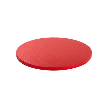 Podkład pod tort okrągły sztywny, gruby, wytrzymały - Czerwony - średnica: 30 cm, grubość: 1,2 cm - Decora