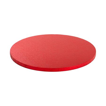 Podkład pod tort okrągły sztywny, gruby, wytrzymały - Czerwony - średnica: 40 cm, grubość: 1,2 cm - Decora