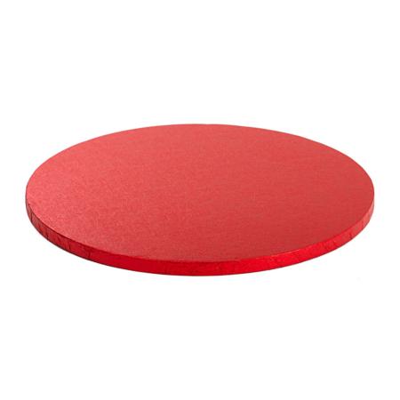 Podkład pod tort okrągły sztywny, gruby, wytrzymały - Czerwony - średnica: 45 cm, grubość: 1,2 cm - Decora
