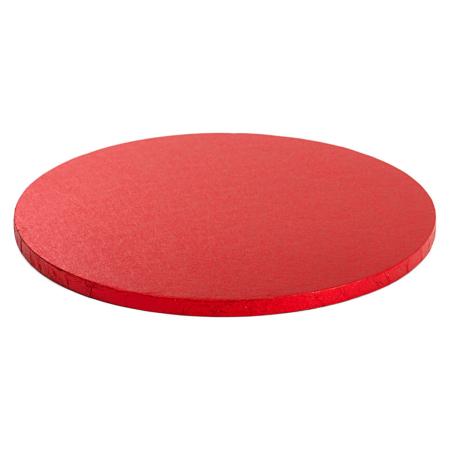 Podkład pod tort okrągły sztywny, gruby, wytrzymały - Czerwony - średnica: 50 cm, grubość: 1,2 cm - Decora