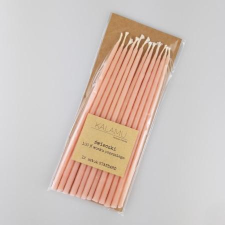 Naturalne Ekologiczne Świeczki z wosku pszczelego – Pomarańczowe Standard – 12 szt. - Kalamu