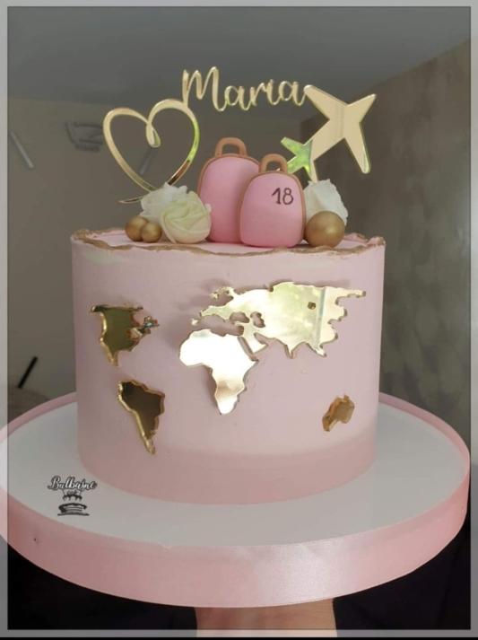 Ozdoba na Tort Mapa Świata - Złota Lustro - Mill ART
