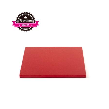 Podkład pod tort kwadratowy Czerwony 15x15 cm, h 1,2 cm Decora