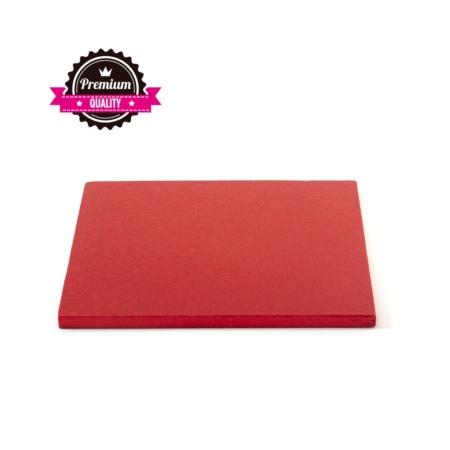 Podkład pod tort kwadratowy Czerwony 25x25 cm, h 1,2 cm Decora