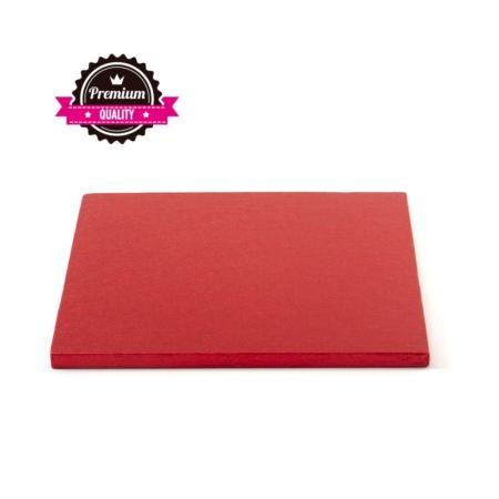 Podkład pod tort kwadratowy Czerwony 30x30 cm, h 1,2 cm Decora