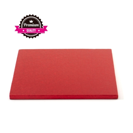 Podkład pod tort kwadratowy Czerwony 35x35 cm, h 1,2 cm Decora