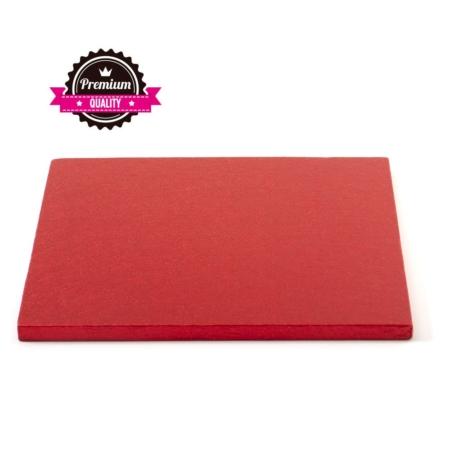 Podkład pod tort kwadratowy Czerwony 40x40 cm, h 1,2 cm Decora