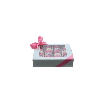 Pudełko na makaroniki z okienkiem - Białe - 22,4x16,2x5,7 cm