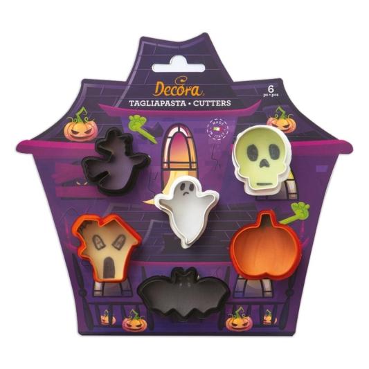 Zestaw 6 mini wykrawaczek/foremek na Halloween Decora (czaszka, czarownica, duch, dynia, nawiedzony dom, nietoperz)