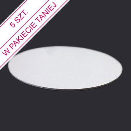 Podkład pod tort okrągły lekki, sztywny, cienki, wytrzymały - Biały - ø 13 cm, grubość: 0,3 cm - Aleksander Print - pakiet 5 szt.