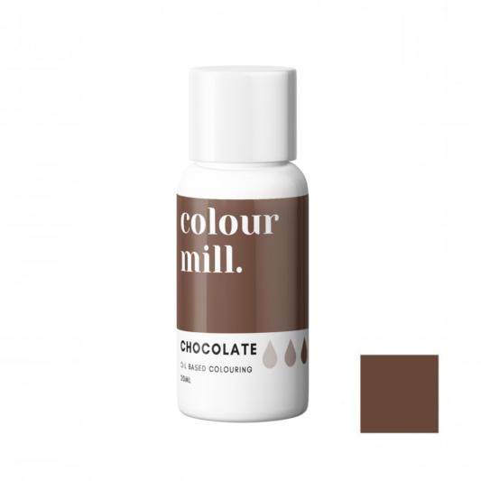 Jadalny barwnik olejowy do mas tłustych Colour Mill - Chocolate, Brązowy 20 ml
