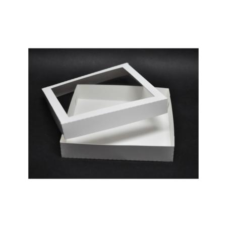 Pudełko na pierniczki z okienkiem - Białe - 25x25x4 cm