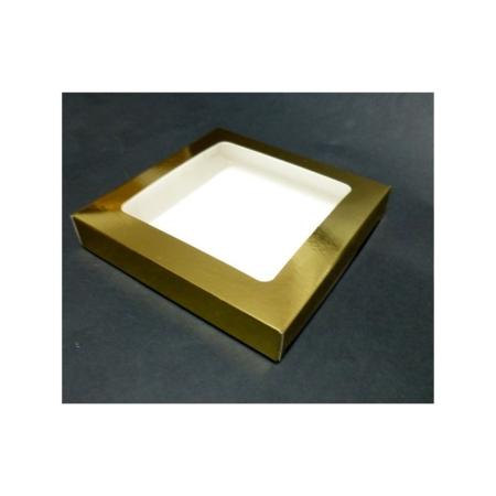 Pudełko na pierniczki z okienkiem - Złote - 15x15x2 cm