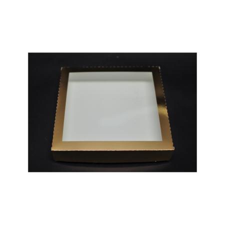 Pudełko na pierniczki z okienkiem - Złote - 25x25x4 cm