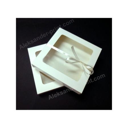 Pudełko na pierniczki z okienkiem - Białe - 15x15x2 cm