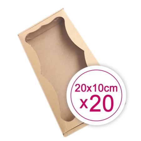 Prostokątne Pudełko na ciasteczka, pierniki, z okienkiem szare 20 x 10 x 2,4 cm - 20 szt.