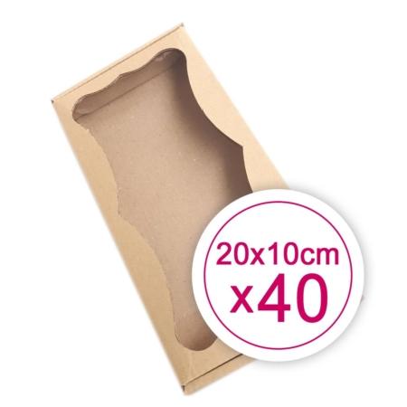 Prostokątne Pudełko na ciasteczka, pierniki, z okienkiem szare 20 x 10 x 2,4 cm - 40 szt.