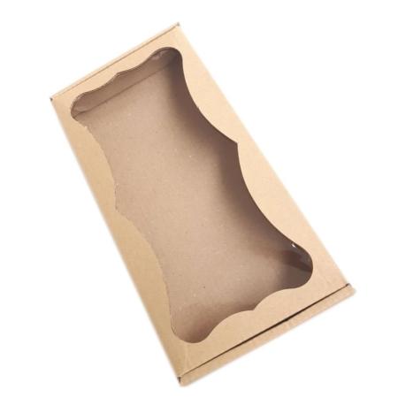 Prostokątne Pudełko na ciasteczka, pierniki, z okienkiem szare 20 x 10 x 2,4 cm - 1 szt.