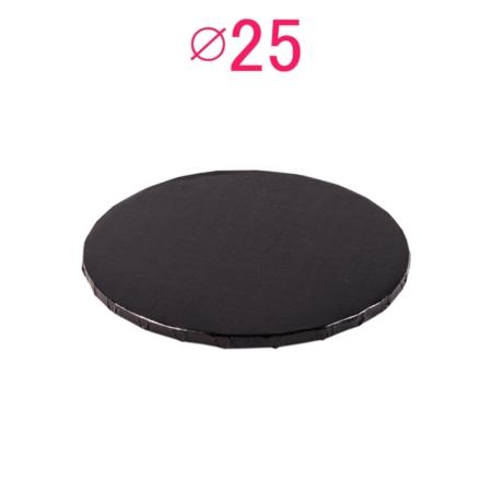 Gruby, sztywny podkład pod tort, ciasto okrągły - Czarny - średnica: 25 cm, grubość: 1 cm - Podkłady Cukiernicze Julita