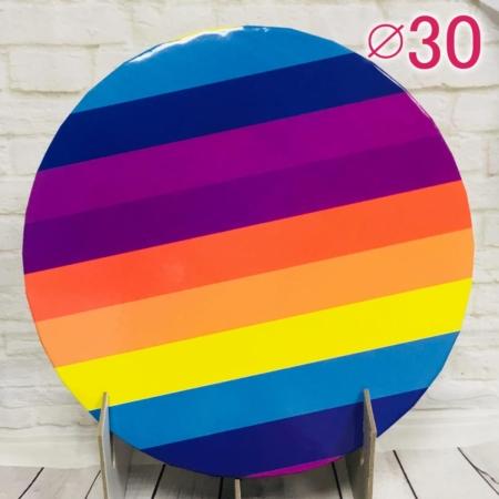 Gruby, sztywny podkład pod tort, ciasto okrągły - Tęcza - średnica: 30 cm, grubość: 1 cm - Podkłady Cukiernicze Julita