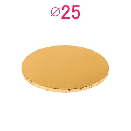 Gruby, sztywny podkład pod tort, ciasto okrągły - Złoty - średnica: 25 cm, grubość: 1 cm - Podkłady Cukiernicze Julita