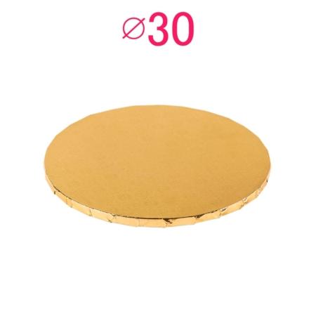 Gruby, sztywny podkład pod tort, ciasto okrągły - Złoty - średnica: 30 cm, grubość: 1 cm - Podkłady Cukiernicze Julita