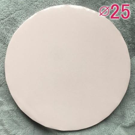 Gruby, sztywny podkład pod tort, ciasto okrągły - Blady Różowy, Bardzo Jasny Różowy, Baby Pink - średnica: 25 cm, grubość: 1 cm - Podkłady Cukiernicze Julita